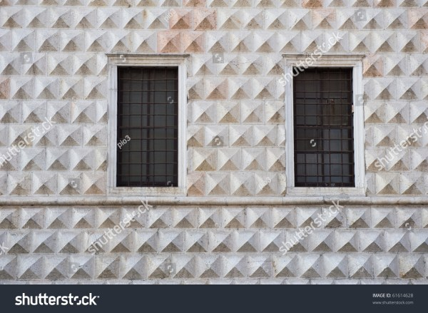 Facade Of Diamonds Palace In Ferrara Italy Stock