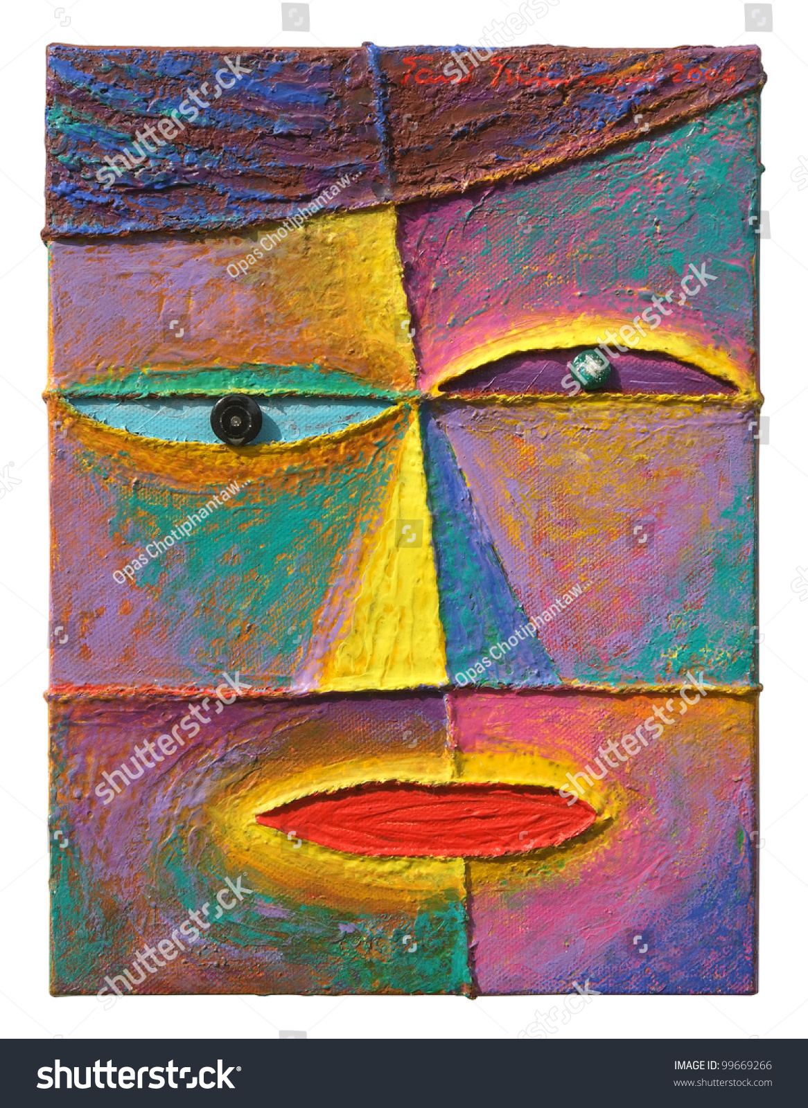 Face 4. Original Acrylic Painting On Canvas. Stock Photo 99669266 : Shutterstock