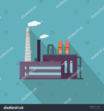 Factory Long Shadow Flat Style Industrial Stock