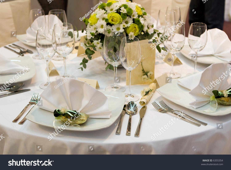 Fancy Table Set For A Wedding Dinner Stock Photo 6355354 : Shutterstock
