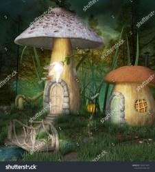 Fantasy Elves Village Forest 3d Illustration Stock Illustration 1039913497