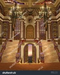 palace fantasy fancy hall chandeliers shutterstock
