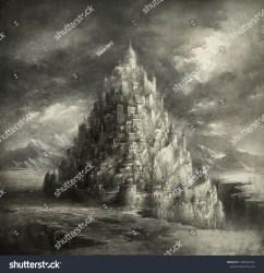 Fantasy Town Resemblance Tower Babylon Acrylic Stock Illustration 1305022732