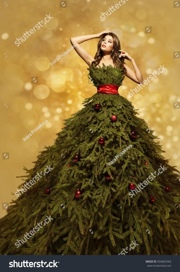 Fashion Model Christmas Tree Dress Woman Stock