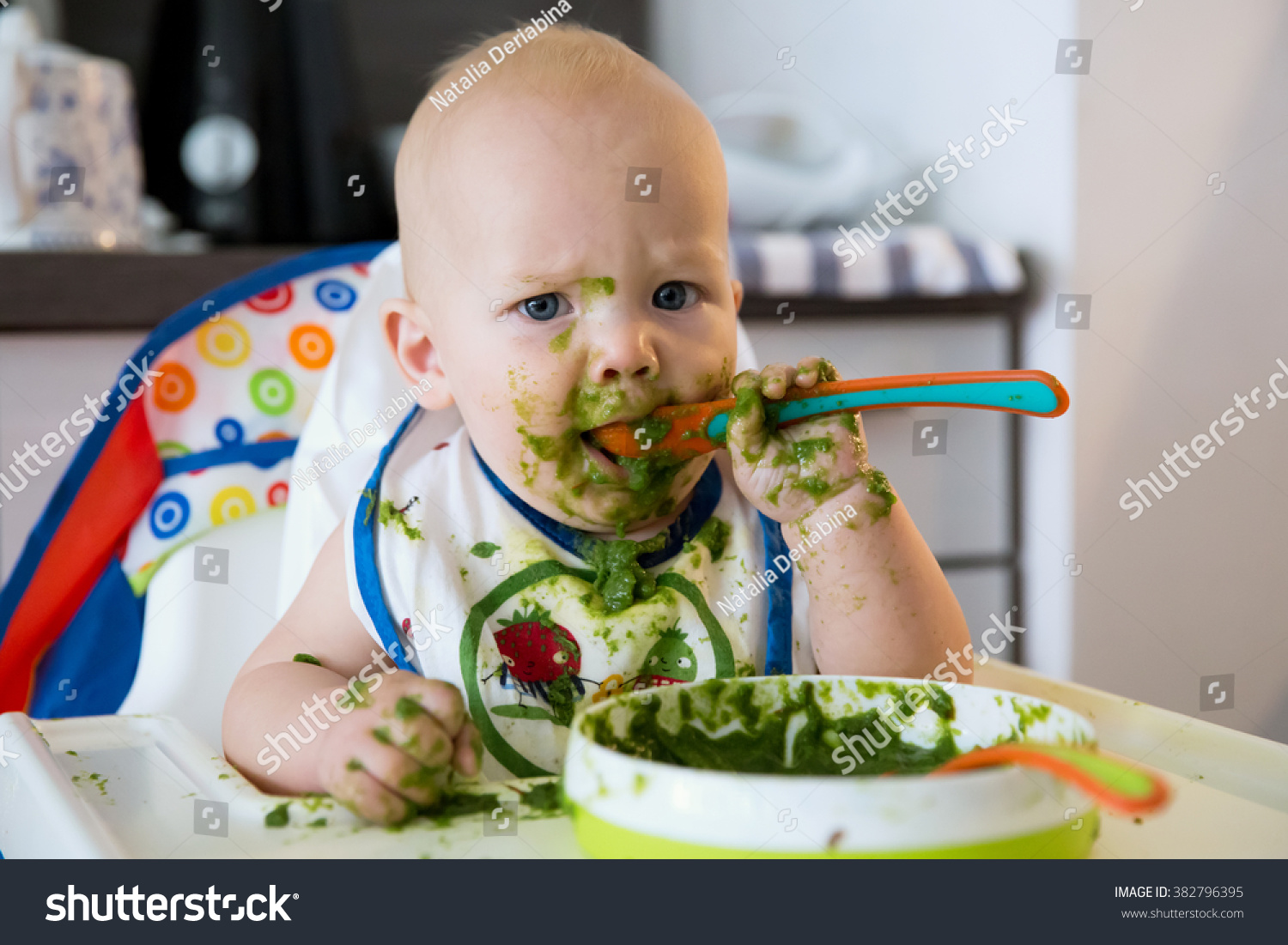 Baby Food Chair Feeding Adorable Baby Child Eating Spoon Stock Photo