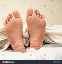 Feet Sleeping Woman Bed Room Stock 475185850