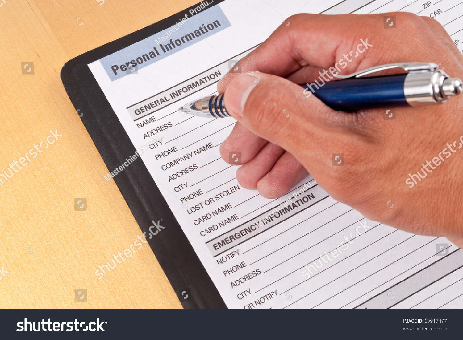 Filling Out Personal Information Worksheet Stock Photo