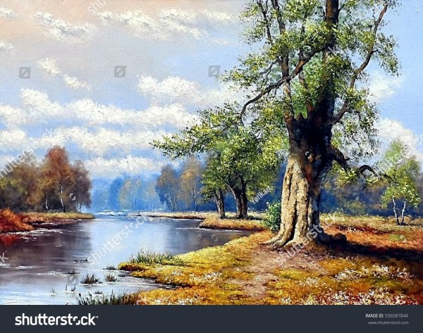 Fine Art Landscape River Oil Paintings Stock Illustration 556587844 - Shutterstock
