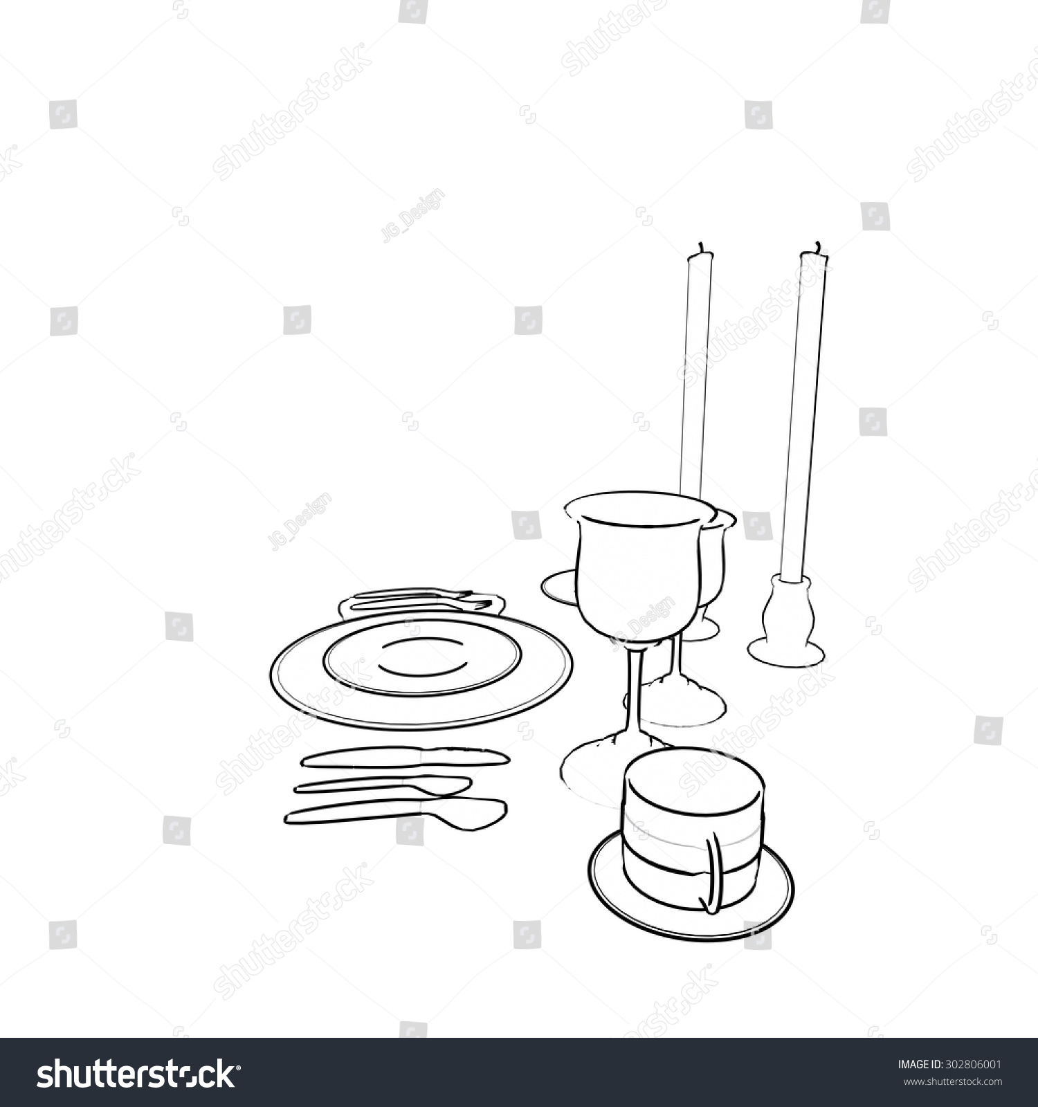 hight resolution of fine dining place setting