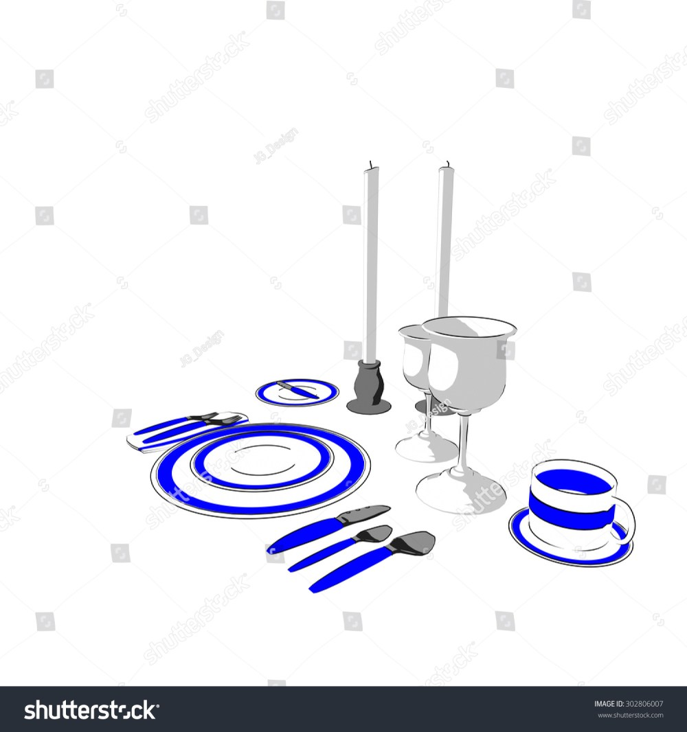 medium resolution of fine dining place setting with blue stripe