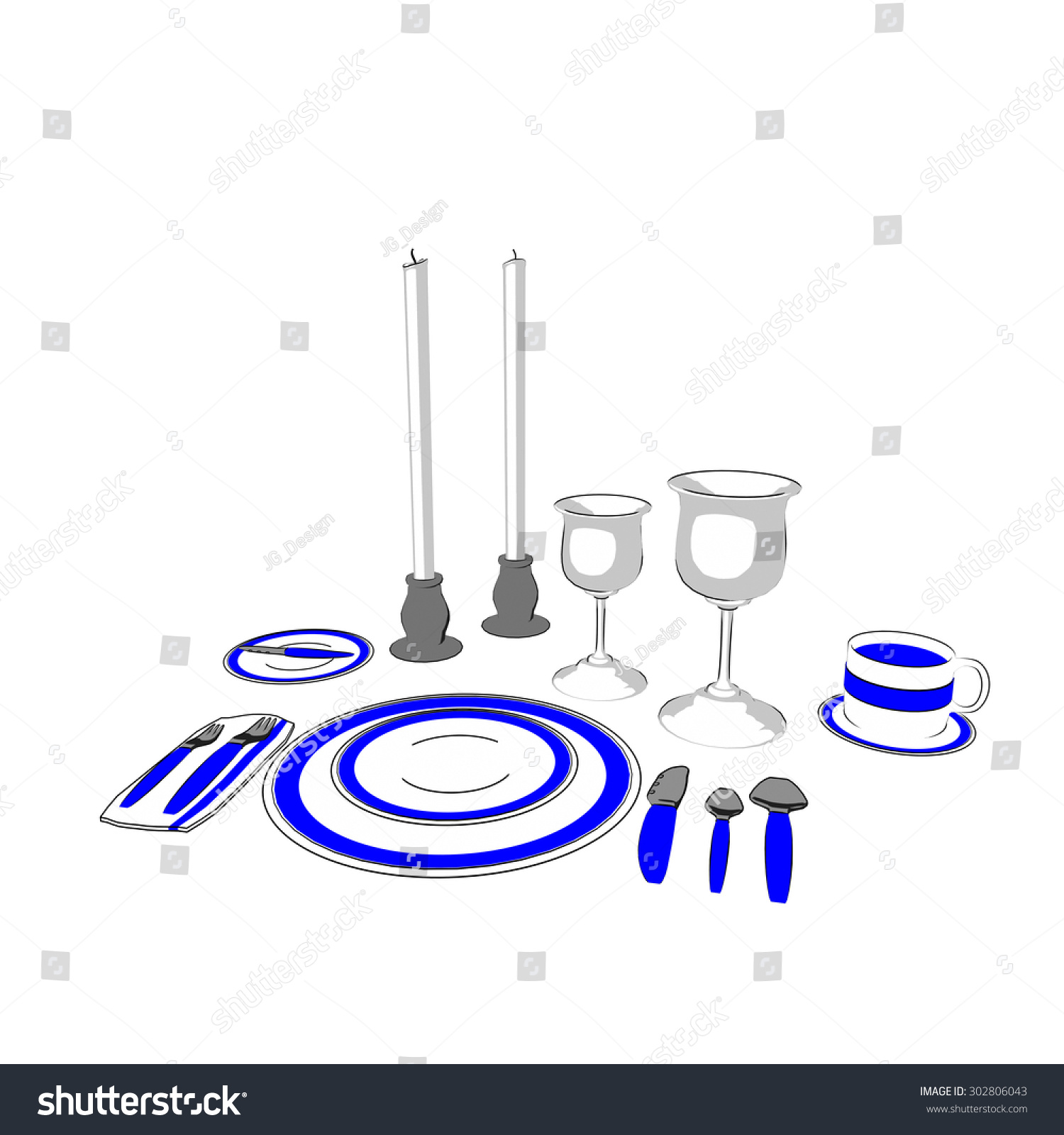 hight resolution of fine dining place setting with blue stripe