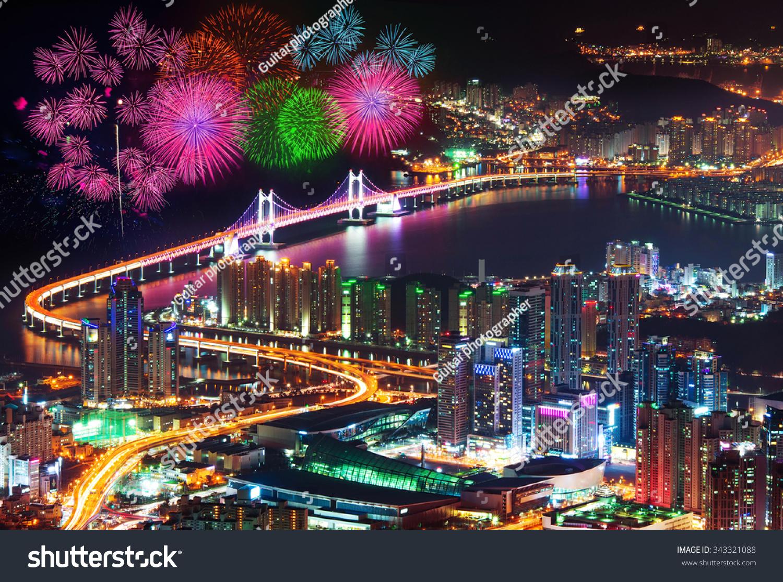 Firework Festival At Gwangan Bridge In Busan,South Korea. Stock Photo 343321088 : Shutterstock