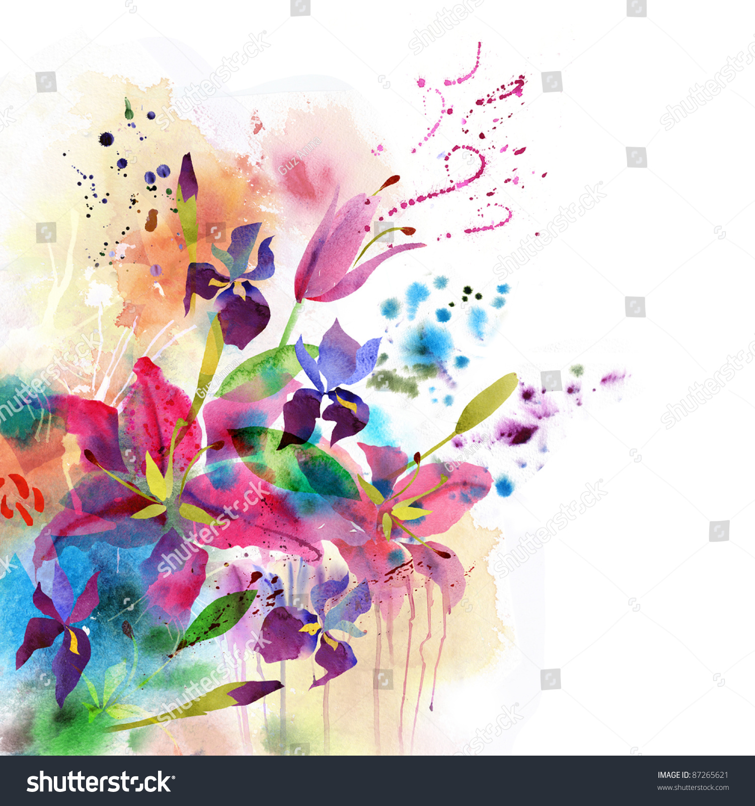 Floral Background Watercolor Flowers Stock Illustration