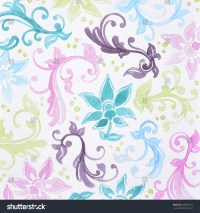 Floral Pattern Watercolor Painting Teal Blue Stock ...
