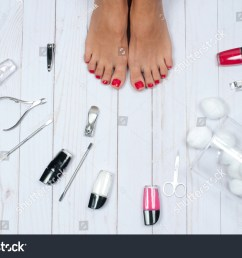 foot care treatment and nail beautiful female feet at spa salon on pedicure procedure [ 1500 x 1096 Pixel ]