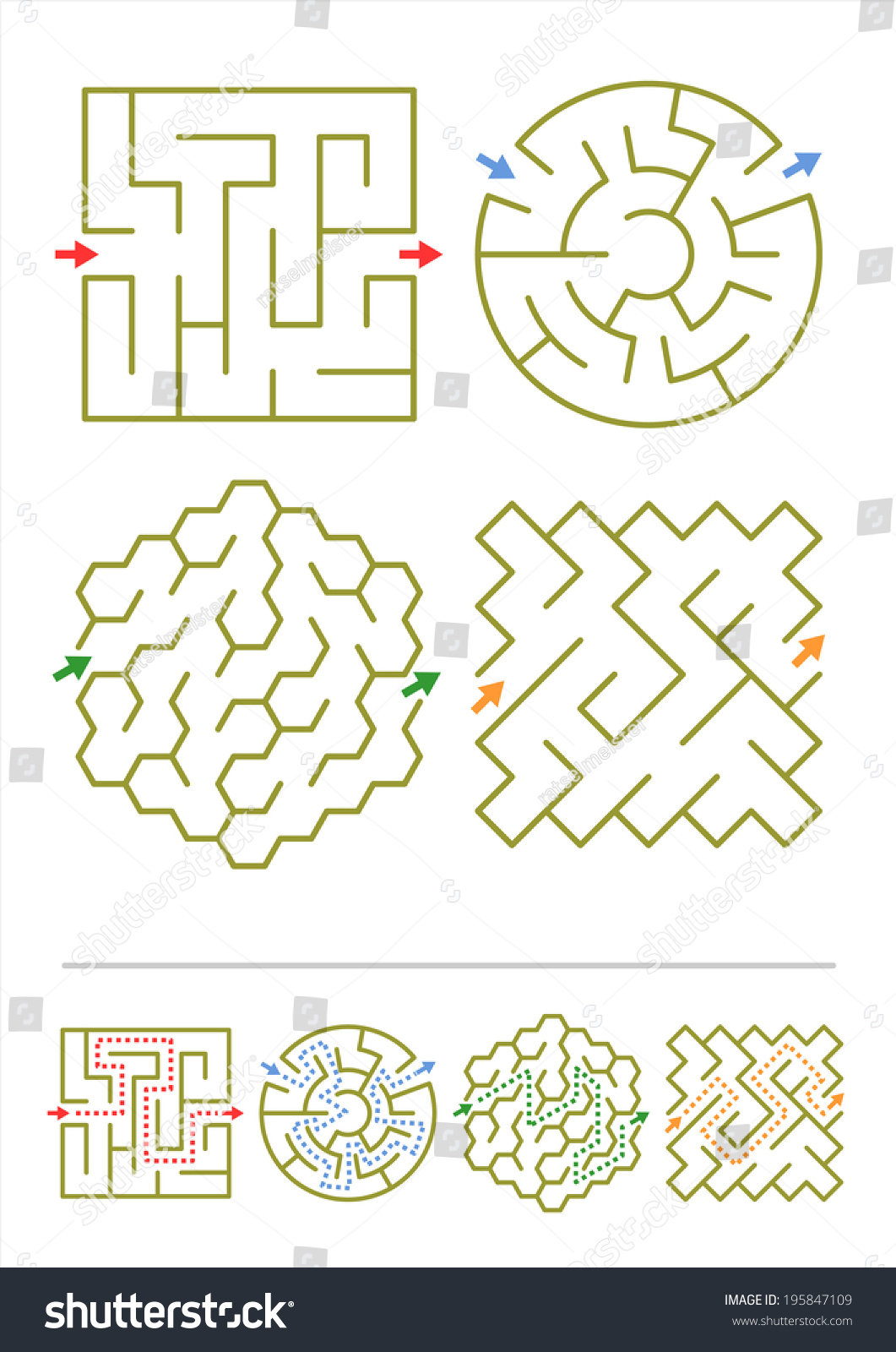 Four Simple Mazes Various Shapes Answers Stock
