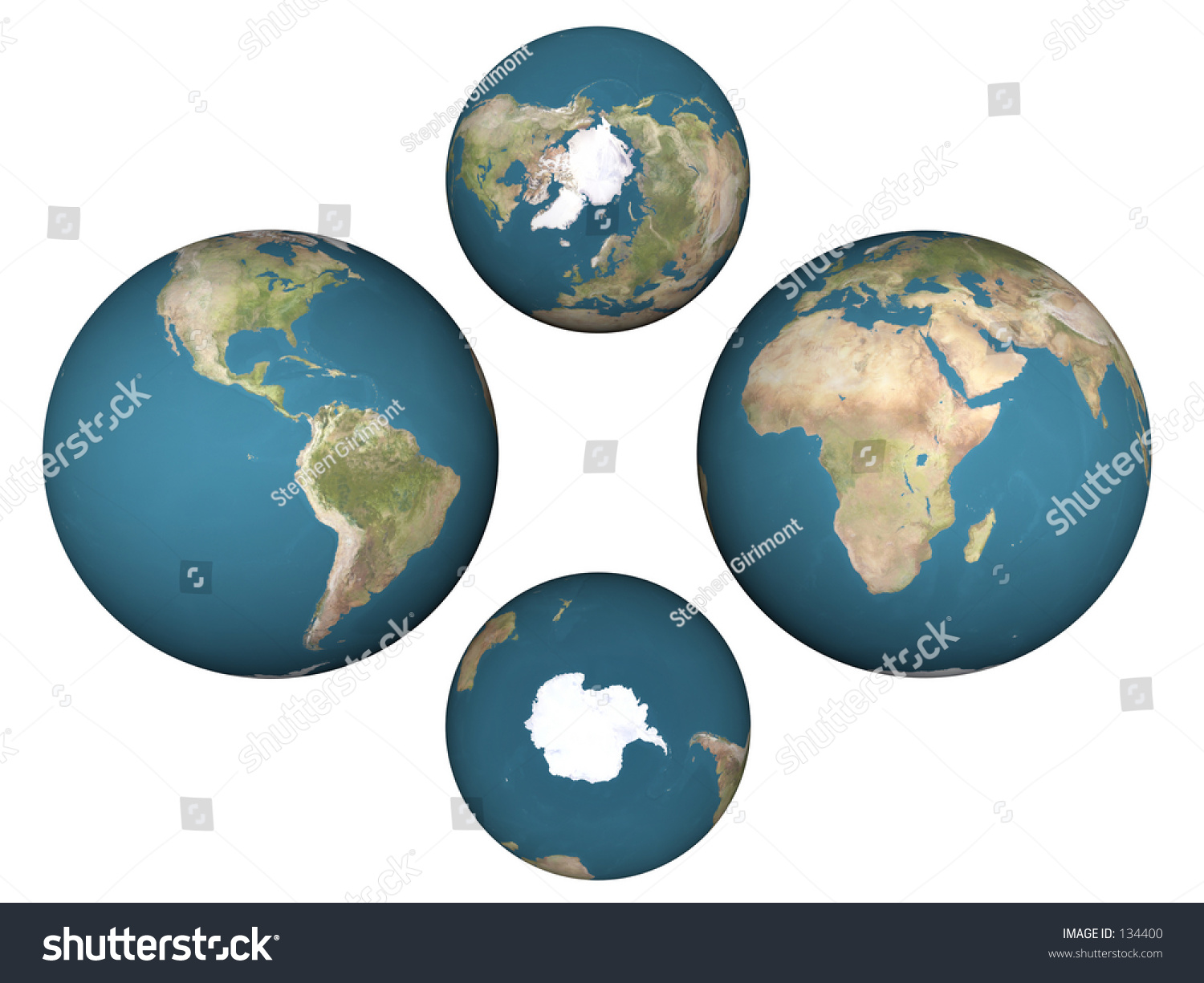 Four Views Earth Showing All Hemispheres Stock Photo