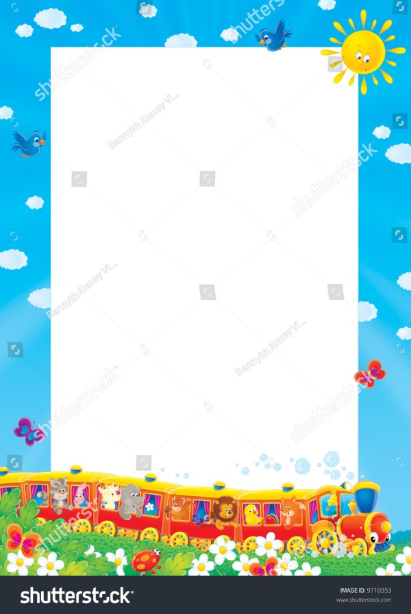 Frame Border Funny Toy Train Stock Illustration 9710353