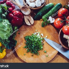Kitchen Food Preparation Table Faucet Delta Fresh Spring Vegetables On Stock Photo