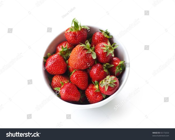 Fresh Strawberries In A White Bowl Stock Photo 55173253