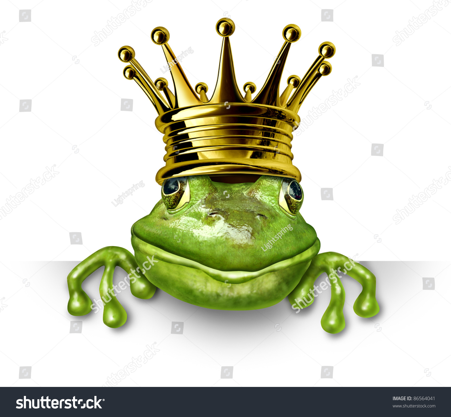 Frog Prince With Gold Crown Holding A Blank Sign Representing The Fairy Tale Concept Of Change