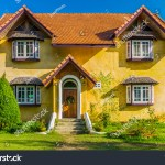 Front Of Vintage Yellow European Style House In Countryside Of Mae Hong Son Province Northern Thailand
