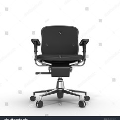 Office Chair Illustration Little Castle And Half Glider Front View Black Object Stock