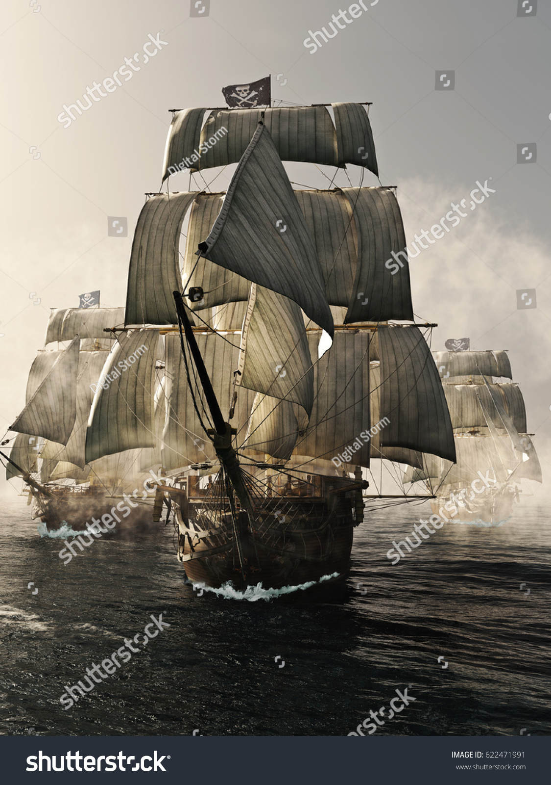 Pirate Ship Storm : pirate, storm, Front, Pirate, Fleet, Piercing, Stock, Illustration, 622471991