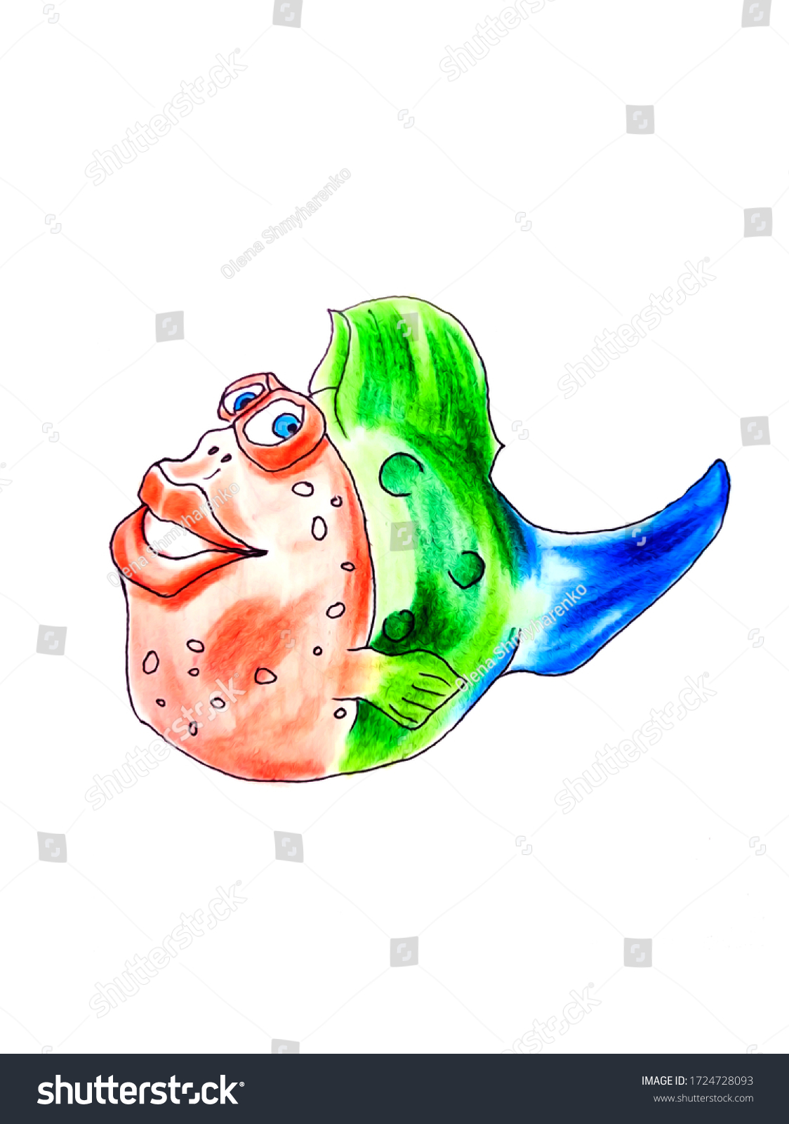 Big Lips Cartoon : cartoon, Funny, Cartoon, Stock, Illustration, 1724728093
