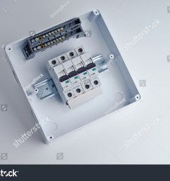 fusebox small open electrical cabinet with four automatic fuses ready for wiring and installing [ 1500 x 1096 Pixel ]