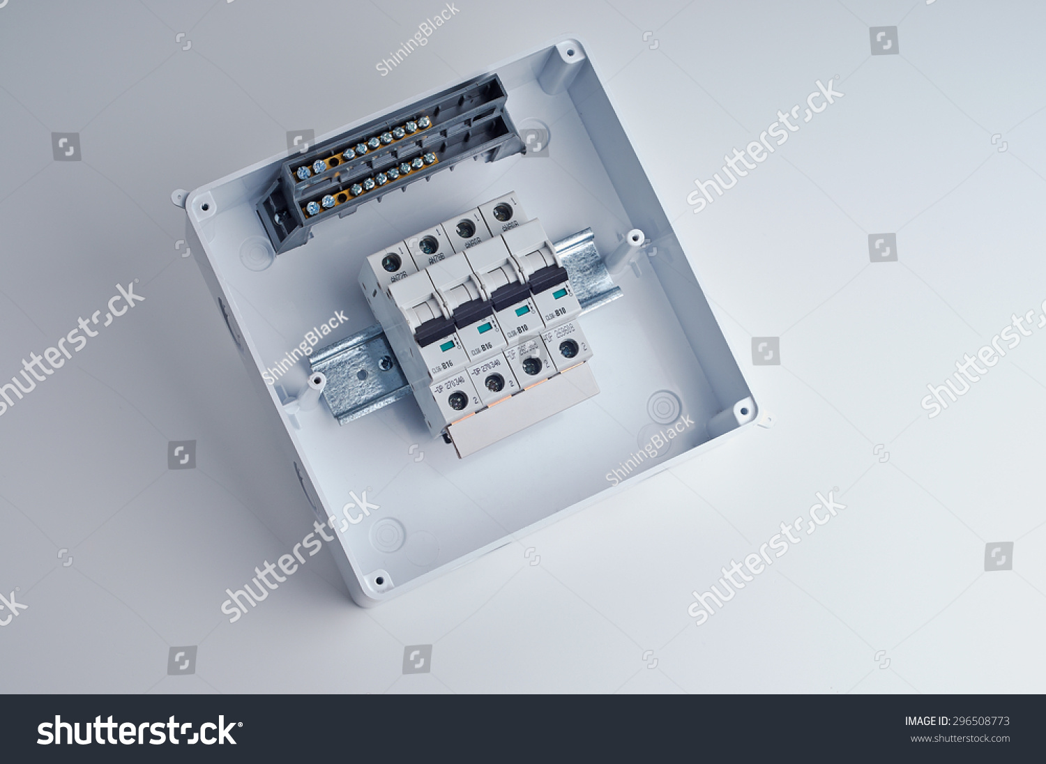 hight resolution of fusebox small open electrical cabinet with four automatic fuses ready for wiring and installing