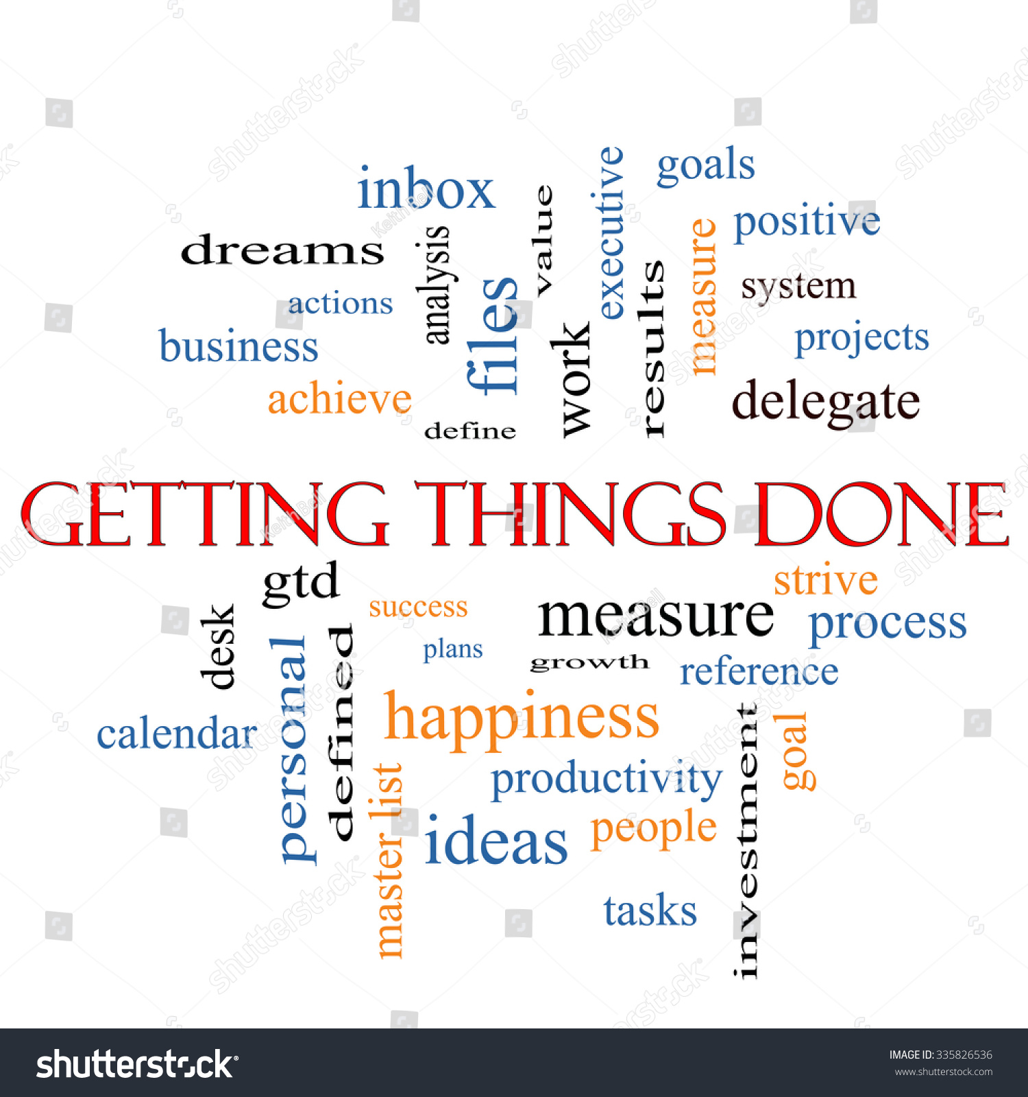 Getting Things Done Word Cloud Concept With Great Terms