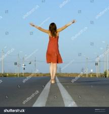 Girl In Red Dress Walk Barefoot Empty Road De