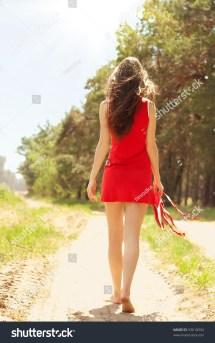 Girl Walking Away Barefoot