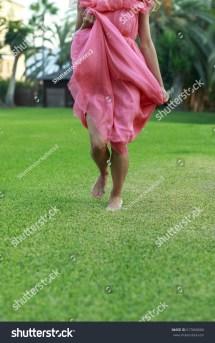 Girls Feet Running Summer Meadow Stock 517660666