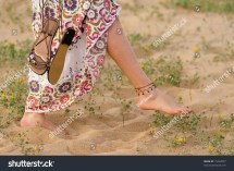 Girl Walking Barefoot Dune With Spring Colours Stock