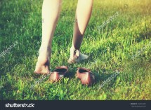 Girl Walking Grass Barefoot Stock