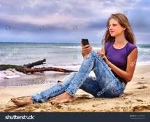 Girl Mobile Phone Make Selfie Stock 364273523