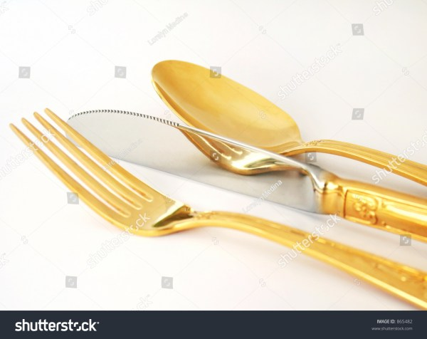 Gold Plated Spoon Fork And Knife Stock Photo 865482