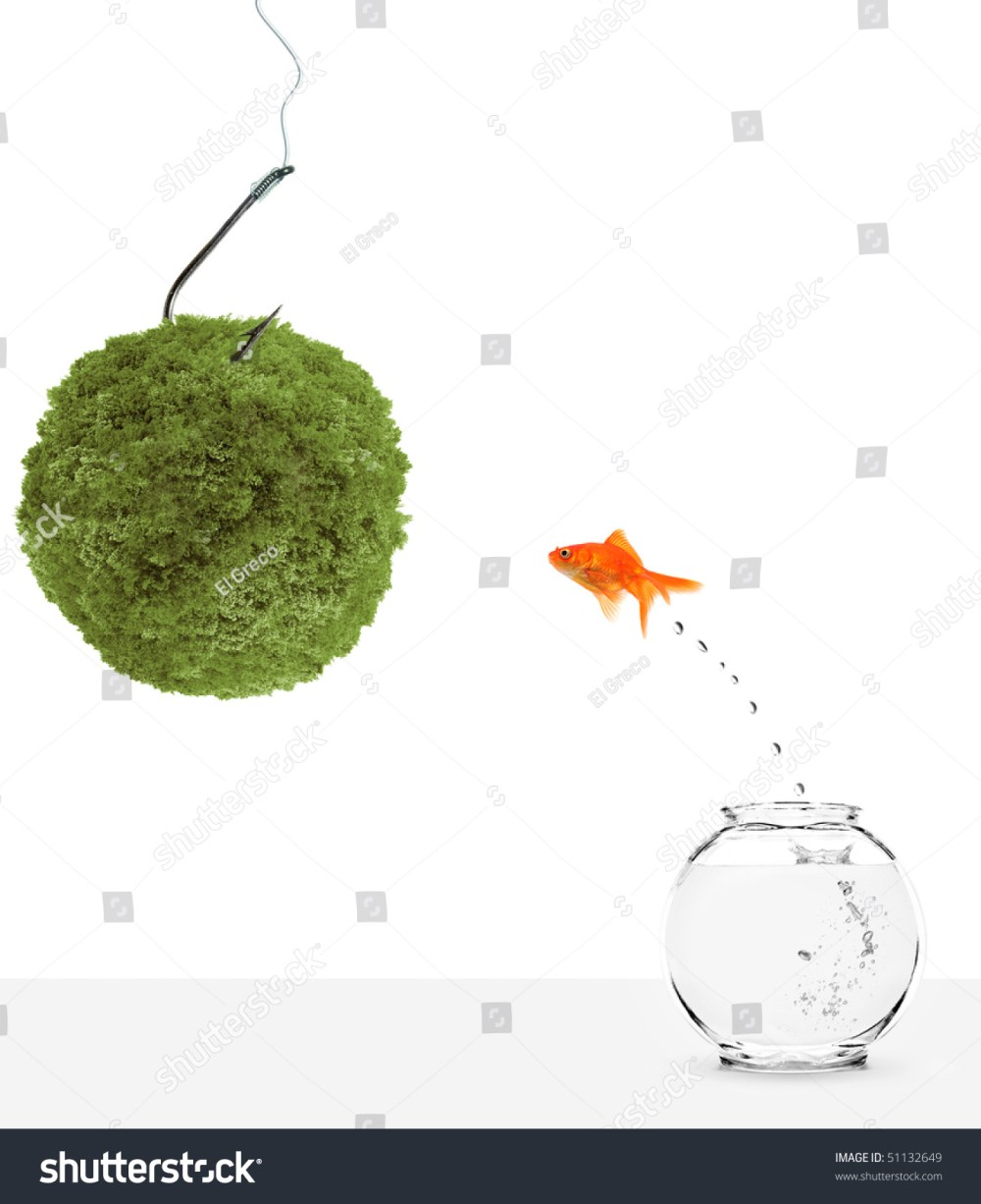 medium resolution of goldfish leaping towards green planet bait isolated on white