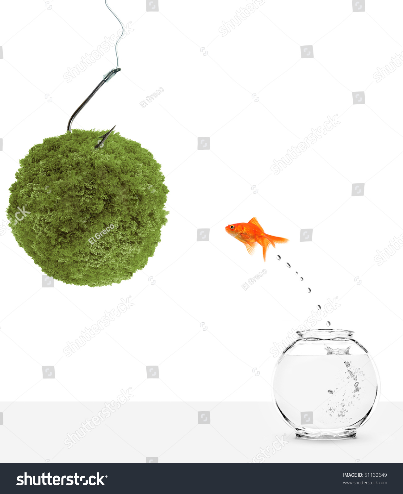 hight resolution of goldfish leaping towards green planet bait isolated on white