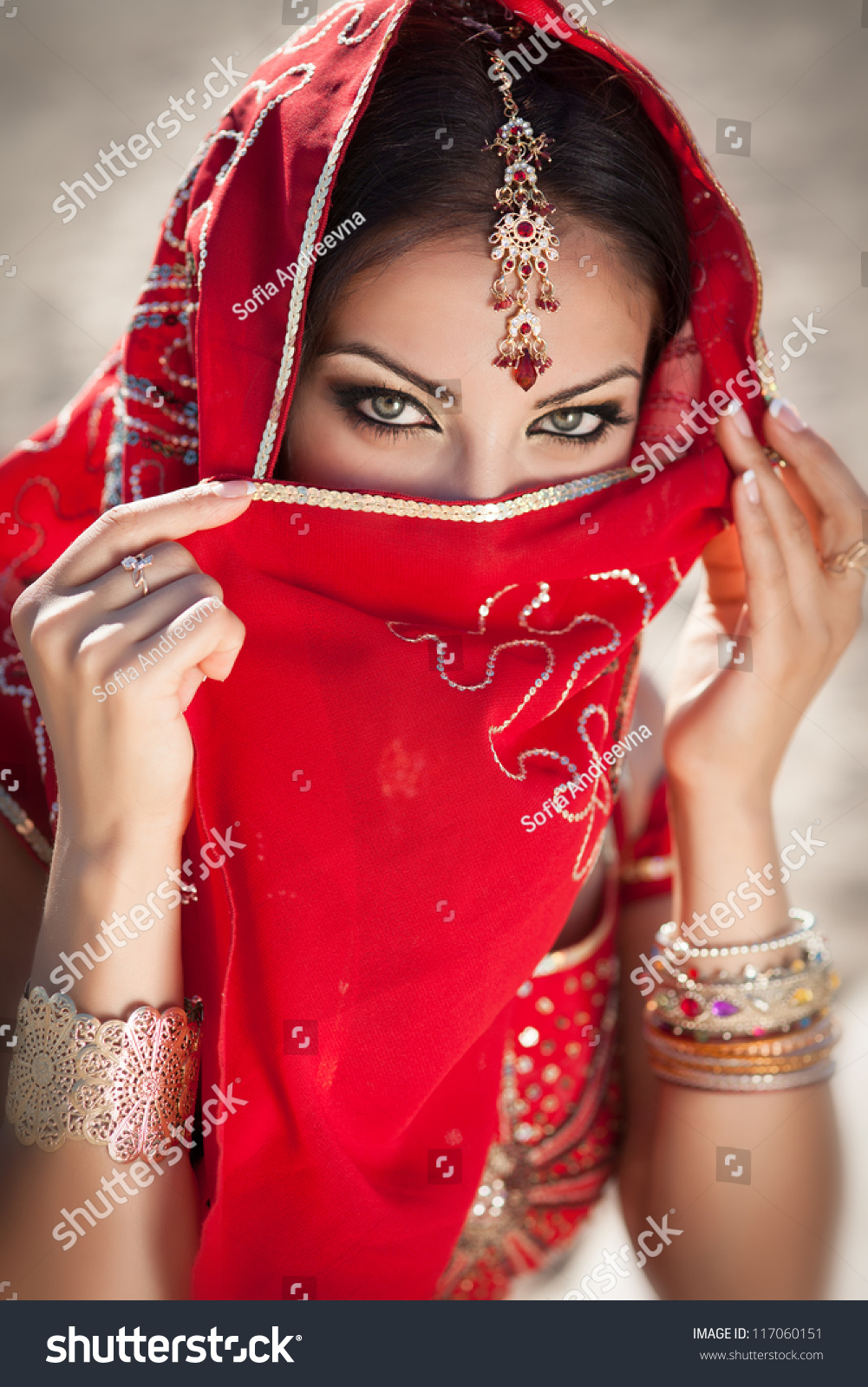 Gorgeous Eyes Young Indian Woman Traditional Stock Photo