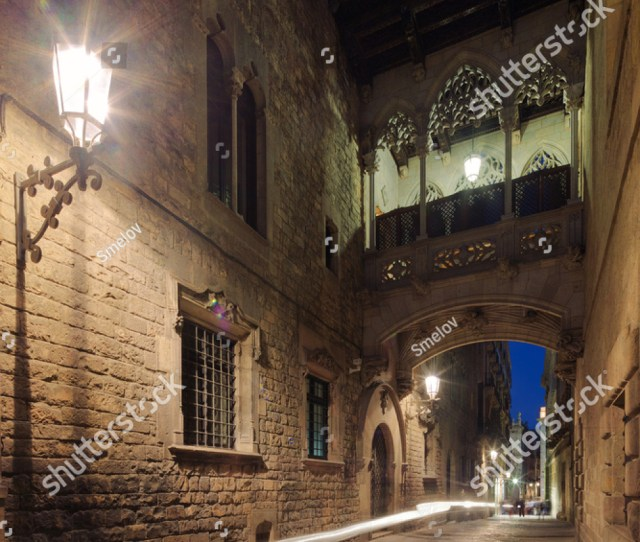 Gothic Quarter In Barcelona Spain At Night