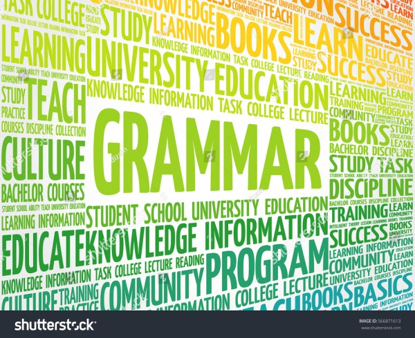 Grammar Word Cloud Education Concept Background Stock
