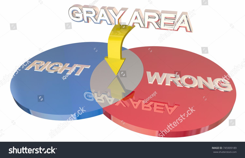hight resolution of gray area right vs wrong ambiguity venn diagram 3d illustration