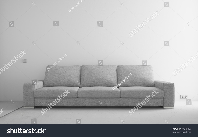 plaid sofa cushions jean michel frank style gray modern empty room white stock illustration ...