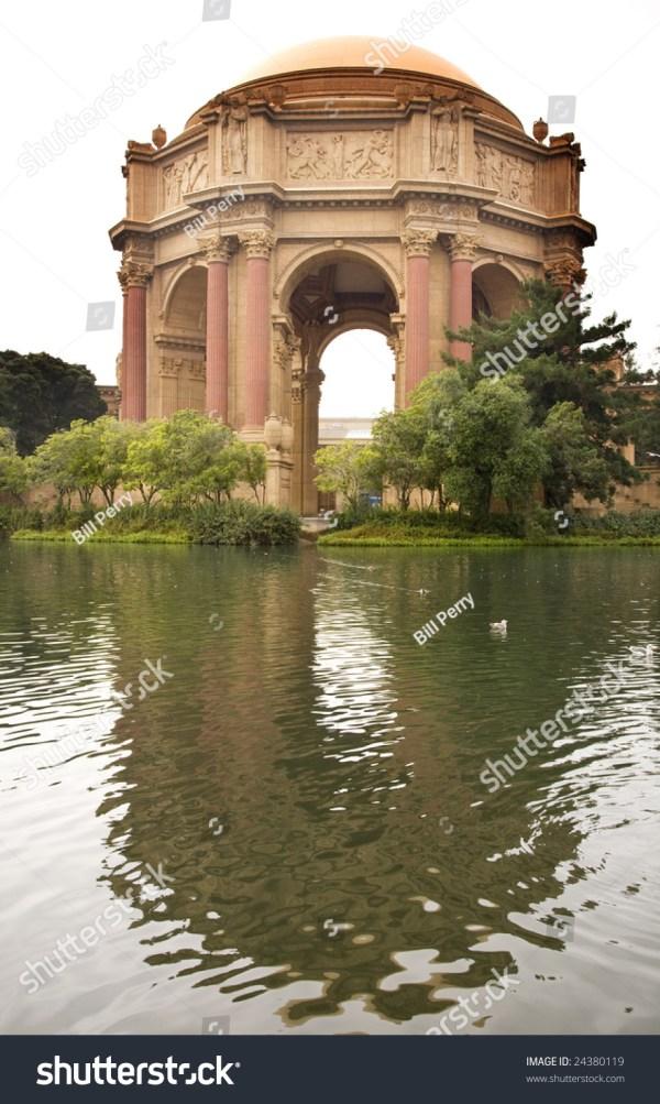 Grecian Columns Reflections Palace Of Fine Arts Museum San