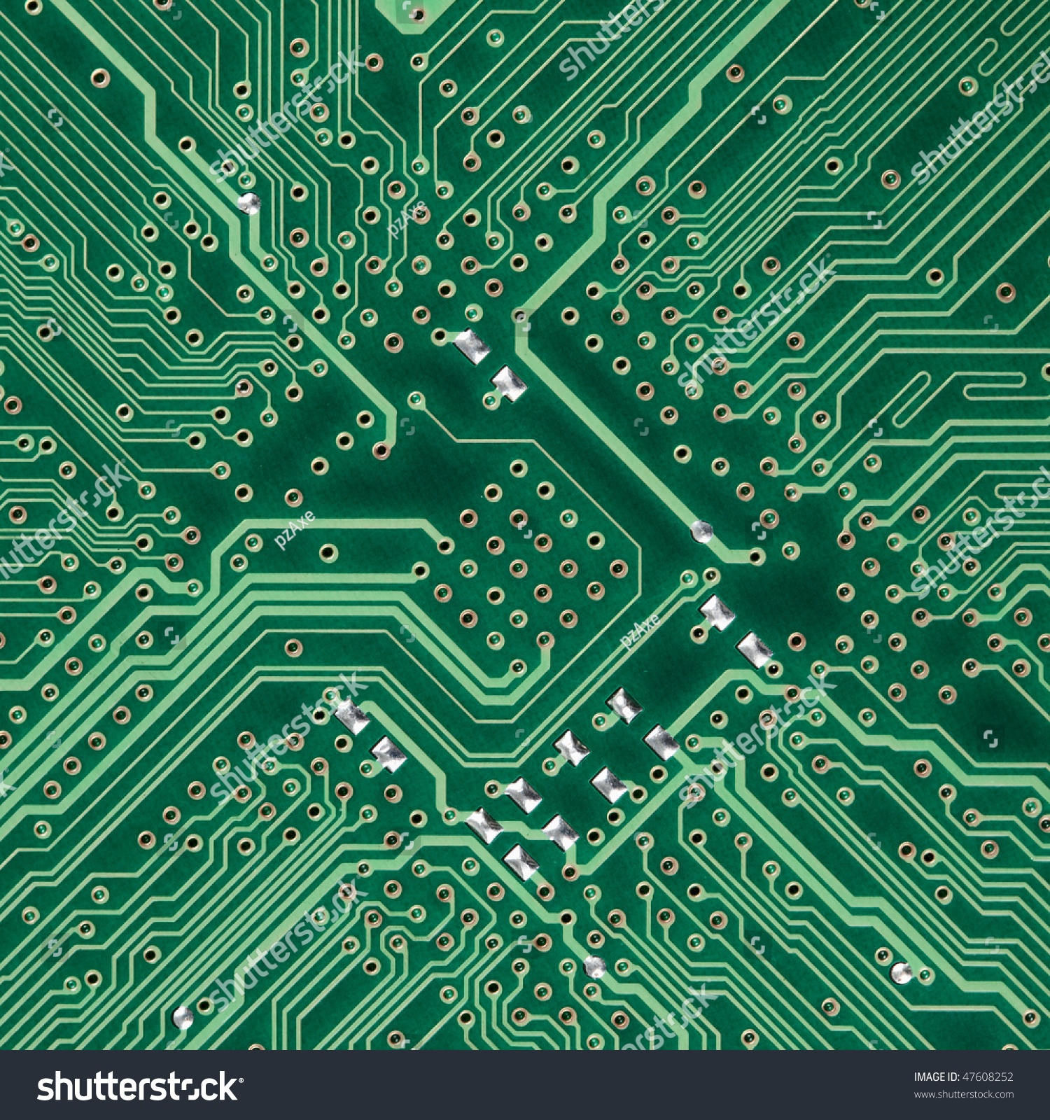 With Signal Paths On Pcb Board Integrated Circuit Top View Flat Lay