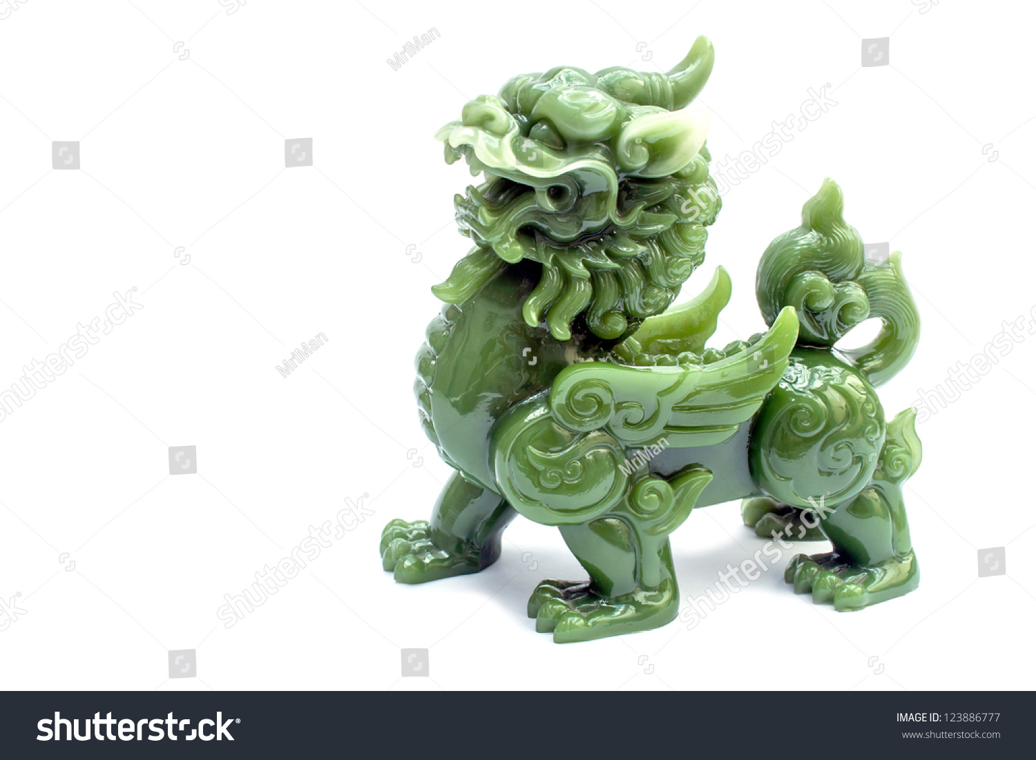 Green Pixiu On A White BackgroundChinese Lucky Animal
