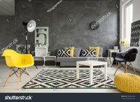 Grey Living Room Sofa Chairs Standing Stock Photo ...